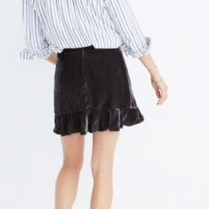 38104b8cd Madewell Skirts | Nwt Velvet Ruffleedge Skirt | Poshmark